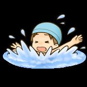 プールで溺れている男の子のイラスト
