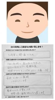 Y.Kさんの似顔絵と感想を書いた紙の写真です