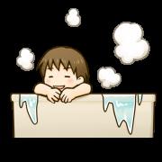 男の子がお風呂でくつろいでいるイラストです