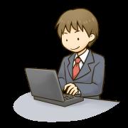 PCのメールで取材の依頼メールを作成している男性のイラストです