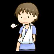腕を骨折して落ち込んでいる男の子のイラストです