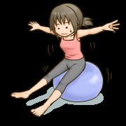 バランスボールでバランスをとる女性のイラスト