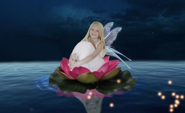 霊視鑑定の事例集 蓮に座って微笑む少女の画像